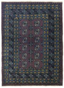 Afghan Teppe 107X146 Ekte Orientalsk Håndknyttet Svart/Mørk Blå (Ull, Afghanistan)
