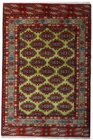 Turkaman Teppich 132X198 Echter Orientalischer Handgeknüpfter Dunkelrot/Dunkelgrau (Wolle, Persien/Iran)