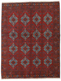 Afghan Tæppe 161X202 Ægte Orientalsk Håndknyttet Mørkerød/Mørkegrå (Uld, Afghanistan)