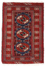 Turkaman Teppich  64X95 Echter Orientalischer Handgeknüpfter Dunkelrot (Wolle, Persien/Iran)