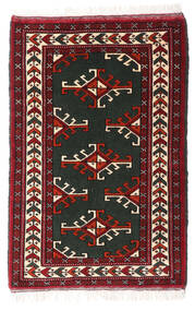 Turkaman Teppich 60X90 Echter Orientalischer Handgeknüpfter Dunkelrot/Schwartz (Wolle, Persien/Iran)