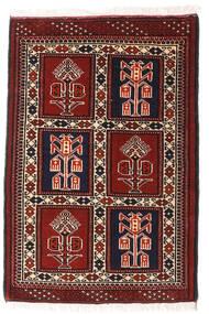 Turkaman Teppich 66X93 Echter Orientalischer Handgeknüpfter Dunkelrot/Weiß/Creme (Wolle, Persien/Iran)
