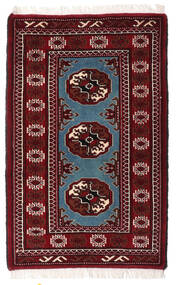 Turkaman Vloerkleed 63X100 Echt Oosters Handgeknoopt Donkerrood/Donkerbruin (Wol, Perzië/Iran)
