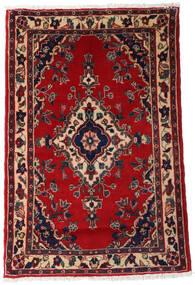 Asadabad Tæppe 74X110 Ægte Orientalsk Håndknyttet Mørkerød/Sort (Uld, Persien/Iran)