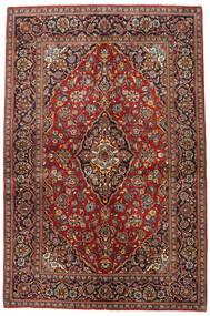 Keshan Teppich 140X213 Echter Orientalischer Handgeknüpfter Dunkelbraun/Dunkelrot (Wolle, Persien/Iran)