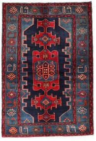 Hamadan Covor 135X194 Orientale Lucrat Manual Albastru Închis/Roșu-Închis (Lână, Persia/Iran)
