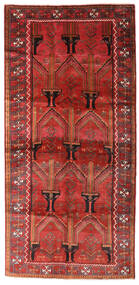 Beluch Matta 124X258 Äkta Orientalisk Handknuten Hallmatta Mörkröd/Roströd (Ull, Persien/Iran)