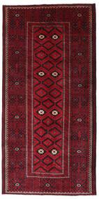 Beluch Matta 129X262 Äkta Orientalisk Handknuten Hallmatta Mörkröd/Mörkbrun (Ull, Persien/Iran)