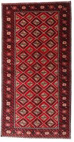 Beluch Matta 128X249 Äkta Orientalisk Handknuten Hallmatta Mörkröd/Mörkbrun (Ull, Persien/Iran)