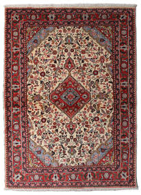 Hamadan Rug 105X146 Authentic  Oriental Handknotted Dark Brown/Dark Red (Wool, Persia/Iran)