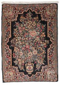 Kerman Teppich  52X73 Echter Orientalischer Handgeknüpfter Schwartz/Dunkelbraun (Wolle, Persien/Iran)