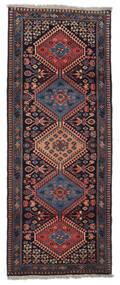 Yalameh Dywan 60X162 Orientalny Tkany Ręcznie Chodnik Ciemnobrązowy/Ciemnoczerwony (Wełna, Persja/Iran)