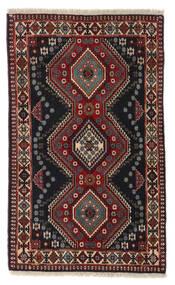 Yalameh Vloerkleed 80X133 Echt Oosters Handgeknoopt Zwart/Donkerrood (Wol, Perzië/Iran)
