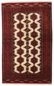 Turkaman Tæppe 127X202 Ægte Orientalsk Håndknyttet Mørkerød/Beige (Uld, Persien/Iran)