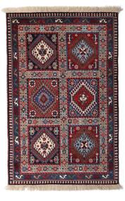Yalameh Teppe 80X125 Ekte Orientalsk Håndknyttet Mørk Rød/Lys Grå/Svart (Ull, Persia/Iran)