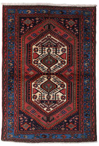 Hamadan Teppe 102X148 Ekte Orientalsk Håndknyttet Mørk Brun/Mørk Rød (Ull, Persia/Iran)