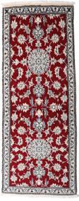 Naïn Tapis 77X200 D'orient Fait Main Tapis Couloir Rouge Foncé/Gris Clair (Laine, Perse/Iran)