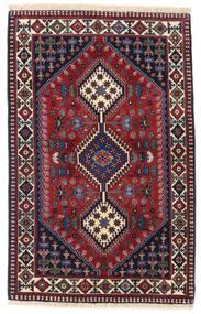 Yalameh Tæppe 84X130 Ægte Orientalsk Håndknyttet Mørkerød/Mørkeblå (Uld, Persien/Iran)
