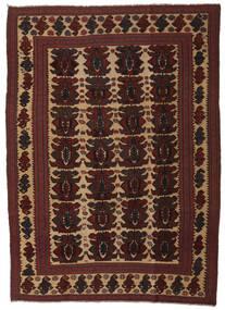 Kelim Golbarjasta Tæppe 192X277 Ægte Orientalsk Håndvævet Mørkebrun/Mørkerød (Uld, Afghanistan)