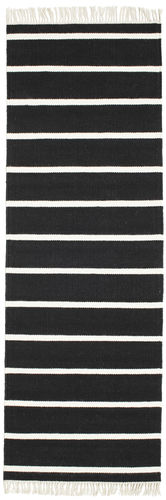 Dhurrie Stripe Black White 80x250 Rugvista