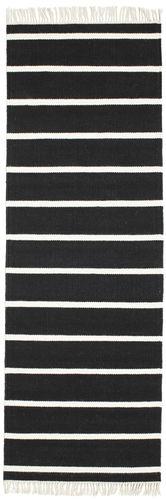 Dhurrie Stripe Black White 80x200 Rugvista