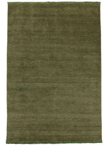 Handloom fringes - Dark Green rug CVD5270