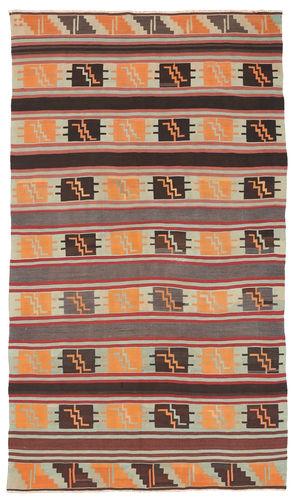 Kilim semi antique Turkish carpet NAZA473