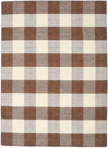 Check Kilim - Brown / White carpet CVD18350
