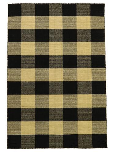 Check Kilim - Black / Gold carpet CVD18346