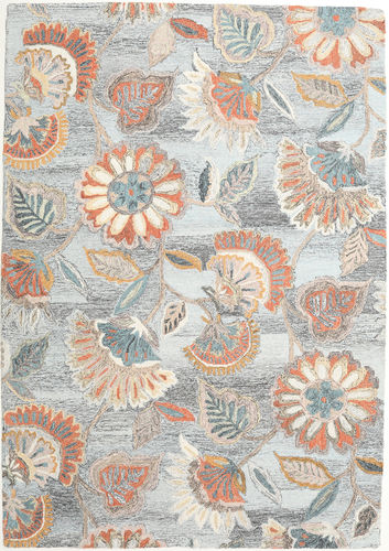 Rusty Flowers - Grå / Rust teppe CVD21349